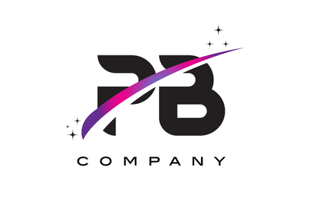 PB P B Black Letter Logo Design with Purple Magenta Swoosh and Stars.