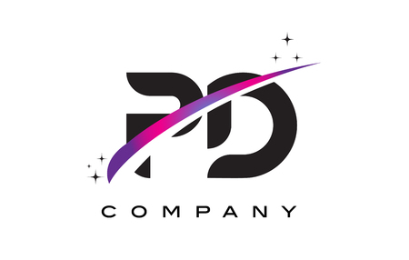 PD P D Black Letter Logo Design with Purple Magenta Swoosh and Stars.
