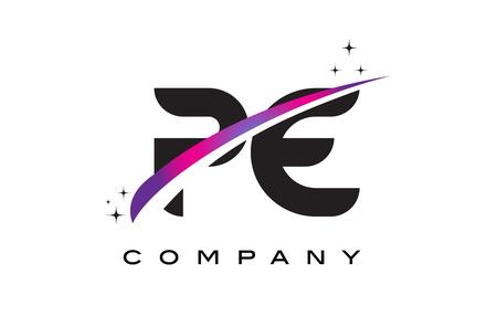 PE P E Black Letter Logo Design with Purple Magenta Swoosh and Stars.
