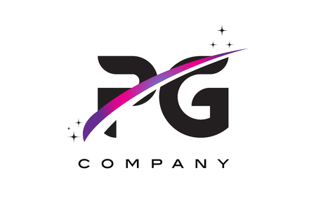 PG P G Black Letter Logo Design with Purple Magenta Swoosh and Stars.