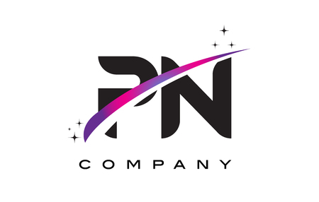 PN P N Black Letter Logo Design with Purple Magenta Swoosh and Stars. Ilustração