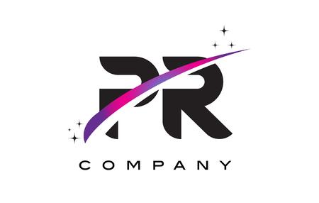 PR P R Black Letter Logo Design with Purple Magenta Swoosh and Stars. Ilustração