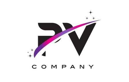 PV P V Black Letter Logo Design with Purple Magenta Swoosh and Stars. Illustration