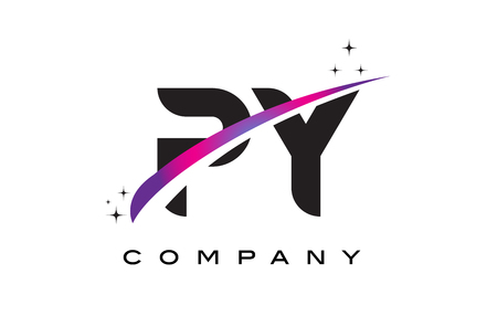cutted: PY P Y Black Letter Logo Design with Purple Magenta Swoosh and Stars.