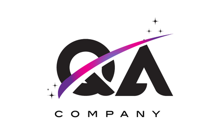 qa: QA Q A Black Letter Logo Design with Purple Magenta Swoosh and Stars.