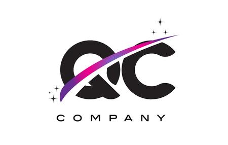 qc: QC Q C Black Letter Logo Design with Purple Magenta Swoosh and Stars.