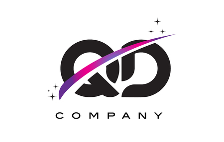 cutted: QD Q D Black Letter Logo Design with Purple Magenta Swoosh and Stars.