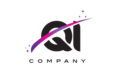 QI Q I Black Letter Logo Design with Purple Magenta Swoosh and Stars.