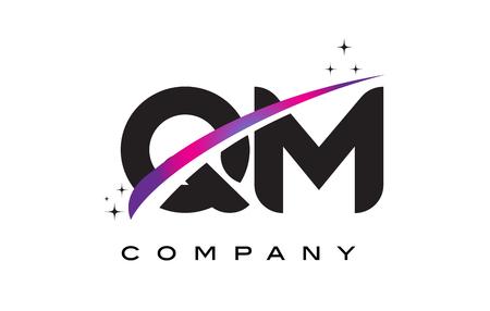 QM Q M Black Letter Logo Design with Purple Magenta Swoosh and Stars.