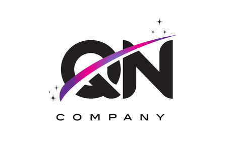 QN Q N Black Letter Logo Design with Purple Magenta Swoosh and Stars. Illustration