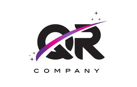 QR Q R Black Letter Logo Design with Purple Magenta Swoosh and Stars.