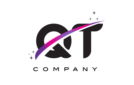 cutted: QT Q T Black Letter Logo Design with Purple Magenta Swoosh and Stars. Illustration