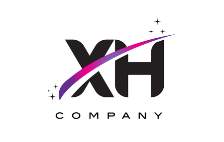 XH X H Black Letter Logo Design with Purple Magenta Swoosh and Stars. Illustration