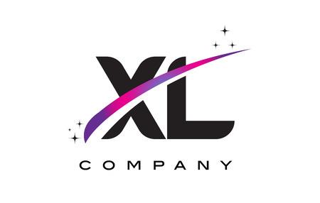XL X L Black Letter Logo Design with Purple Magenta Swoosh and Stars.