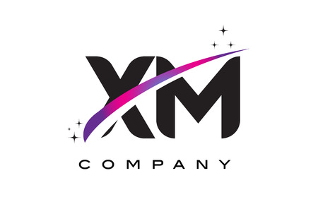 xm: XM X M Black Letter Logo Design with Purple Magenta Swoosh and Stars.