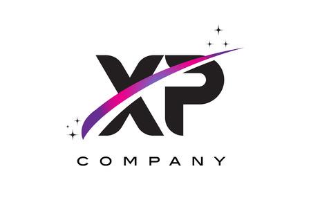 XP X P Black Letter Logo Design with Purple Magenta Swoosh and Stars.