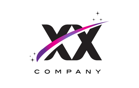 XX X X Black Letter Logo Design with Purple Magenta Swoosh and Stars.