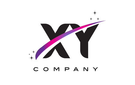 xy: XY X Y Black Letter Logo Design with Purple Magenta Swoosh and Stars.
