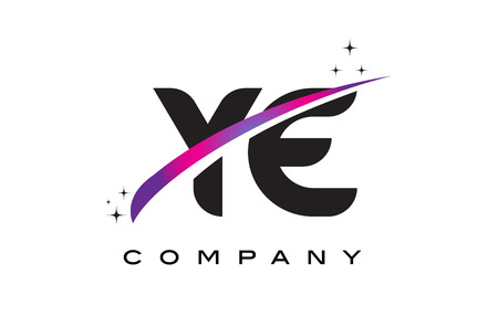 YE Y E Black Letter Logo Design with Purple Magenta Swoosh and Stars.