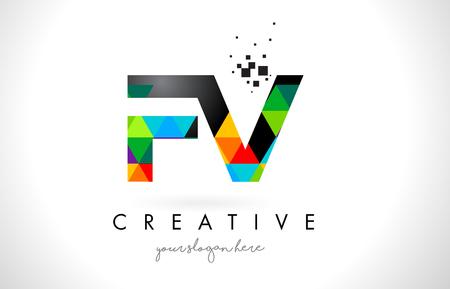 fv: FV F V Letter Logo with Colorful Vivid Triangles Texture Design Vector Illustration.