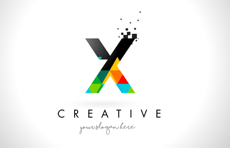 X Letter Logo with Colorful Vivid Triangles Texture Design Vector Illustration.