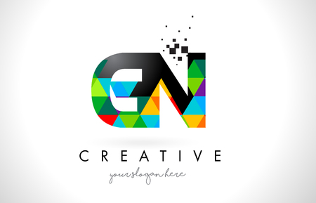 GN G N Letter Logo with Colorful Vivid Triangles Texture Design Vector Illustration. Logó