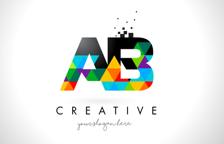 AB A B Letter Logo with Colorful Vivid Triangles Texture Design Vector Illustration.