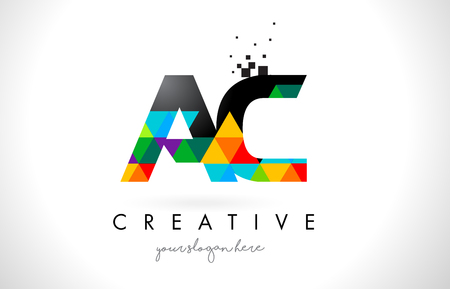 ac: AC A C Letter Logo with Colorful Vivid Triangles Texture Design Vector Illustration.