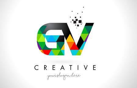 カラフルな鮮やかな三角形テクスチャ デザイン ベクトル図と GV G V 文字ロゴ。  イラスト・ベクター素材