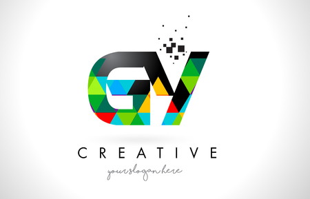 GY G Y Letter Logo with Colorful Vivid Triangles Texture Design Vector Illustration.