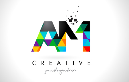 AM A M Letter Logo with Colorful Vivid Triangles Texture Design Vector Illustration. Illustration
