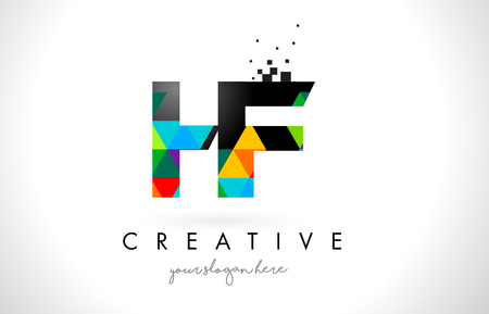 hf: HF H F Letter Logo with Colorful Vivid Triangles Texture Design Vector Illustration.