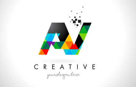 AV A V Letter Logo with Colorful Vivid Triangles Texture Design Vector Illustration. Illustration