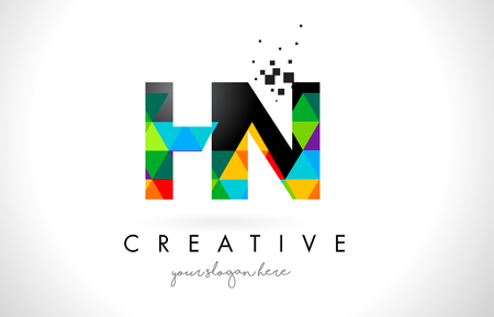 hn: HN H N Letter Logo with Colorful Vivid Triangles Texture Design Vector Illustration.