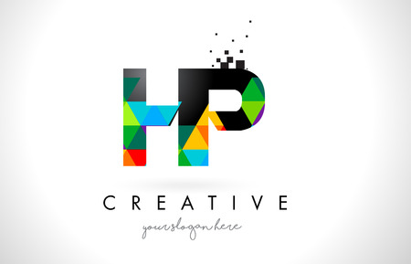 HP H P Letter Logo with Colorful Vivid Triangles Texture Design Vector Illustration.