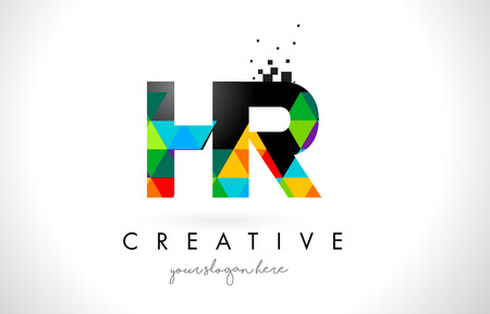 HR H R Letter Logo with Colorful Vivid Triangles Texture Design Vector Illustration. 矢量图像