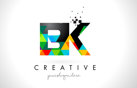 BK B K Letter Logo with Colorful Vivid Triangles Texture Design Vector Illustration.