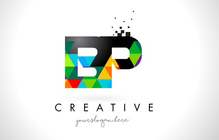 BP B P Letter Logo with Colorful Vivid Triangles Texture Design Vector Illustration. Illustration
