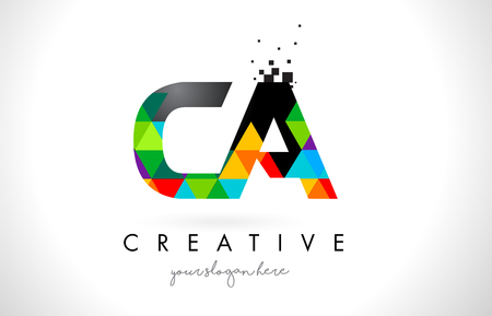 CA C A Letter Logo with Colorful Vivid Triangles Texture Design Vector Illustration. Illustration