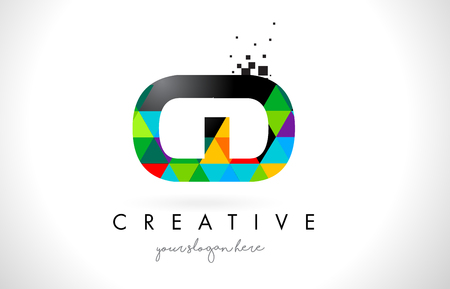 CD C D Letter Logo with Colorful Vivid Triangles Texture Design Vector Illustration.