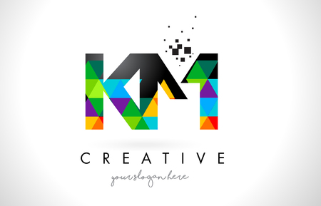 KM K M Letter Logo with Colorful Vivid Triangles Texture Design Vector Illustration.  イラスト・ベクター素材