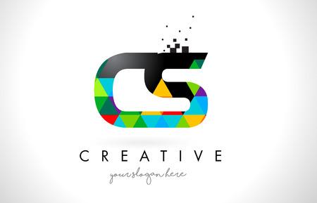 cs: CS C S Letter Logo with Colorful Vivid Triangles Texture Design Vector Illustration.