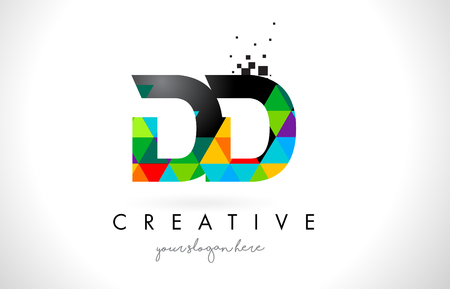 DD D D Letter Logo with Colorful Vivid Triangles Texture Design Vector Illustration. Çizim