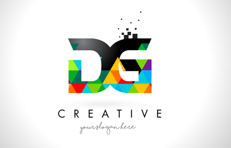 DG D G Letter Logo with Colorful Vivid Triangles Texture Design Vector Illustration.