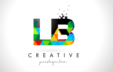 LB L B 文字ロゴ鮮やかな三角形のカラフルなテクスチャ デザイン ベクトル イラスト。