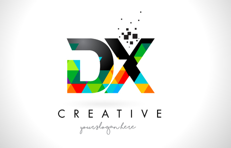 d: DX D X Letter Logo with Colorful Vivid Triangles Texture Design Vector Illustration. Illustration
