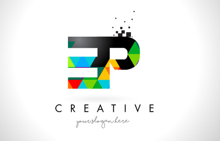 EP E P Letter Logo with Colorful Vivid Triangles Texture Design Vector Illustration. 矢量图像