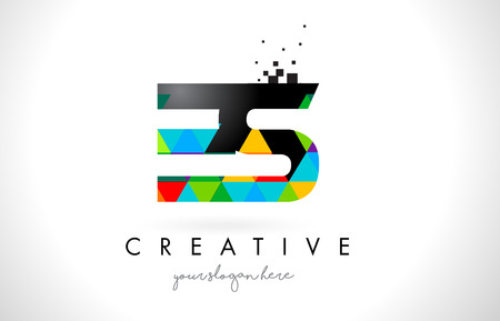 ES E S Letter Logo with Colorful Vivid Triangles Texture Design Vector Illustration.