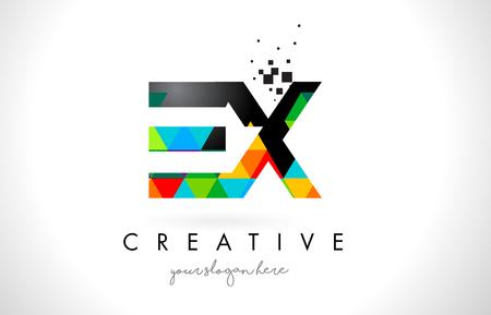 ex: EX E X Letter Logo with Colorful Vivid Triangles Texture Design Vector Illustration.