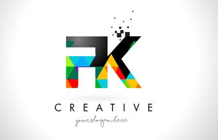 FK F K Letter Logo with Colorful Vivid Triangles Texture Design Vector Illustration. Logó
